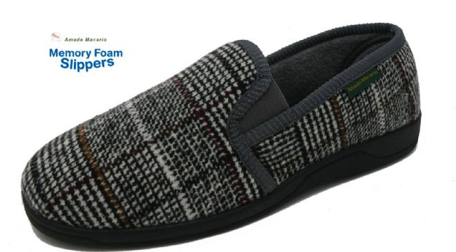 Men's Classic Check Slippers Grey